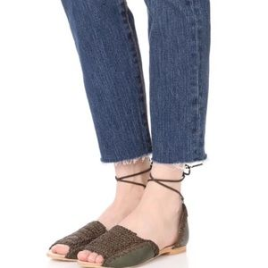 Free People Beaumont Woven Green Sandals